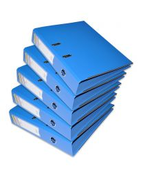 10-Piece FIS PP Box File with Fixed Mechanism, 8cm Spine, F/S Size,  Blue Color