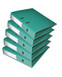 10-Piece FIS PP Box File with Fixed Mechanism, 8cm Spine, F/S Size, Green Color