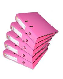 10-Piece FIS PP Box File with Fixed Mechanism, 8cm Spine, F/S Size, Pink Color