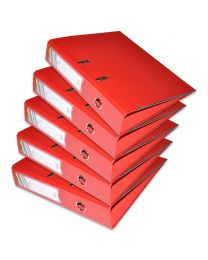 10-Piece FIS PP Box File with Fixed Mechanism, 8cm Spine, F/S Size, Red Color