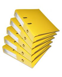 10-Piece FIS PP Box File with Fixed Mechanism, 8cm Spine, F/S Size, Yellow Color