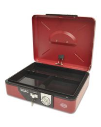 Cash Box Steel Red Color With Number / Key lock , 300 x 240 x 85mm, 12 Inch Lock Size