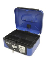 Cash Box Steel Blue Color With Number / Key lock , 200 x 160 x 85mm, 8 Inch Lock Size