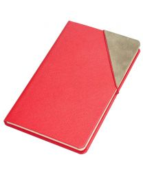 Notebook With Corner Elastic Band Italian PU Cover, Ivory Paper, Single Ruled, 120 Sheets With Gift Box, 13 x 21 cm Size