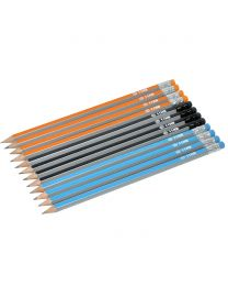 HB Stripe Pencils 3 Assorted Colors with Eraser Sharpened, Pack of 12 Pcs.