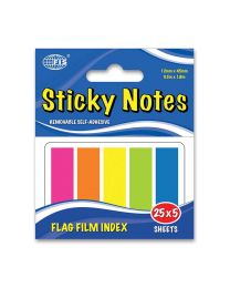 Film Index, 125 Sheets, 5 Colors, 12 x 45mm Size