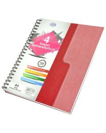 Spiral Hard Cover University Books, 160 Sheets, 4 Subject, A4 Size