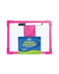 Magnetic White Board with Plastic Frame, 20 x 15 cm Size With Marker & Eraser
