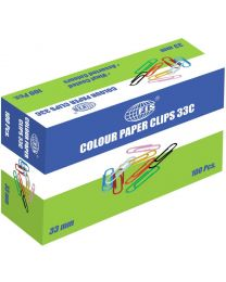 Colored Paper Clips U Shape, Pack of 100 Pcs, 33 mm Size