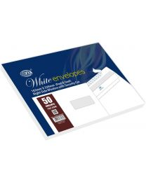 50-Piece White Envelopes Peel & Seal, Right Window, Security Cut, Inner Print, C5 (162 X 229 mm), 100 GSM