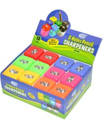 Pencil Sharpeners 2 Holes, Square Shape, Pack of 12 Pieces