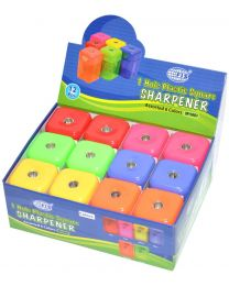 Plastic Sharpeners 1 Hole, Square Shape, Assorted Colors, Pack of 12 Pieces