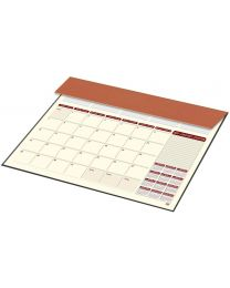 2019 Year Planner with PVC Desk Blotter and Italian PU Flap (English / French) Brown Color