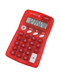 Olympia Pocket Calculator 8 Digits LCD825,  Red Color